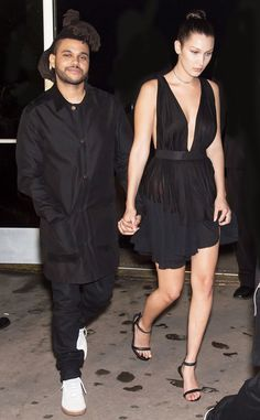 The Weeknd & Bella Hadid from Stars at New York Fashion Week Spring 2016  The two leave Alexander Wang's fashion show.