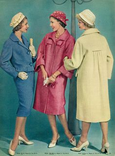Vintage Chic - Beyer Mode, Marz 1959 vintage fashion style late 50s early 60s looks suit coat jacket skirt pink blue cream white hat shoes color photo print ad models magazine
