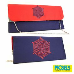 Psychedelic Flower clutch: Red & Blue. For details and orders please email us at picselsce@gmail.com