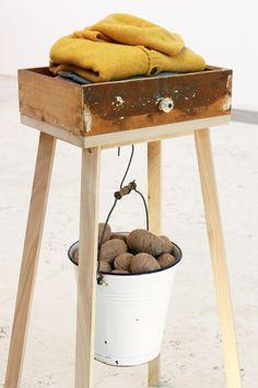 http://www.arabeschidilatte.org/project/precious-waste-2/ - old drawer with legs