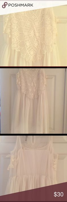LC crochet, tulle dress. Size medium, NWT. Beautiful white tile dress with crochet top. Size 10, NWT. Would be perfect for a bridal shower! LC Lauren Conrad Dresses Mini