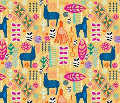 I researched traditional textiles and the livery that the llamas are adorned with to gain my inspiration for this design. The colours are stunning and there are some fantastic motifs to use. I have aimed to create an up-to-date Folk Art feel.