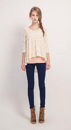 MIT 甜嫩蕾絲拼接長袖上衣,歐美感個性側拉鍊造型牛仔長褲