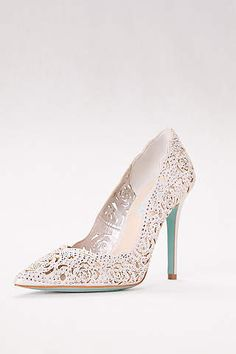 82e6d621b2b Crystal Embellished Lace Laser-Cut Pointed Toe Pumps by Blue by Betsey  Johnson available at David s Bridal