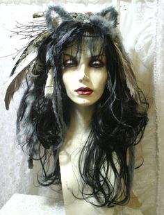 Wild Thing- Women Who Run With Wolves - full Wig - Hair Headpiece Costume Faerie world Renaissance Fairy Wedding Burning Man theater The ears aren't very good, but i like the general feel. Wolf Costume Women, Costumes For Women, Cute Couple Halloween Costumes, Halloween Makeup, Halloween 2015, Halloween Ideas, Larp, Headdress, Headpiece