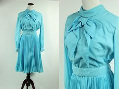 60's Celeste Blue Pussy Bow Accordian-pleated by DulcetteShop
