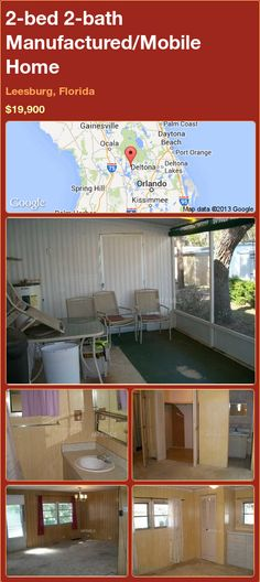 2-bed 2-bath Manufactured/Mobile Home in Leesburg, Florida ►$19,900 #PropertyForSale #RealEstate #Florida http://florida-magic.com/properties/83138-manufactured-mobile-home-for-sale-in-leesburg-florida-with-2-bedroom-2-bathroom