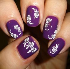 Sparkly Nails Roses White Nail Stickers #Nails #nailart #purplenails #whiteroses #bblogger - Bellashoot.com