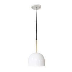 Cedar & Moss Amelie Corded Pendant. Shown in white + brass finish with black round cord. Feminine modern.  Crafted with heavy gauge exclusive solid brass parts that have beautiful artisan finishes.
