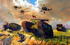 British tanks and airforce advancing