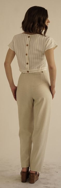 High waisted linen trousers.