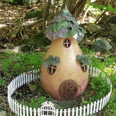 Fairy House Woodland Gourd Leaves Swing by EnchantedPumpkinArt, $50.00