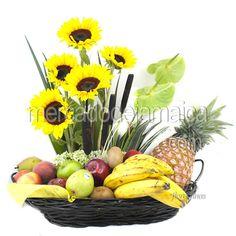 Arreglo de Frutas Frutos del Jardin  Envia Flores Fruit Flower Basket, Fruits Basket, Christmas Centerpieces, Christmas Decorations, Topiary Decor, Fruit Gifts, Fruit Arrangements, Fruit Displays, Ikebana