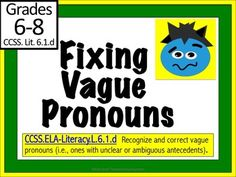 This is a comprehensive lesson for fixing vague pronouns. Included in this 2 day lesson is: a PowerPoint, (EATS) lesson plan and 3 worksheets. Complete with essential question, vocabulary, teaching strategies, and an exit ticket, students learn 3 strategies to correct vague pronouns.