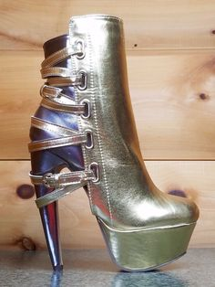 20d512df7be7 ... High Heel Shoes. Totally Wicked Footwear · Products · Amarante Gold  Pewter Multiple Strap Banana Curved Heel Ankle Boots- 6