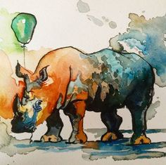 Happy birfday. . . #rhino #watercolor #balloon