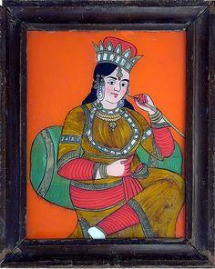 Hinterglasbild aus Indien, 19. Jahrhundert Art Brut, Kandinsky, Baseball Cards, Painting, Indian, Paintings, Corning Glass, Pictures, Painting Art
