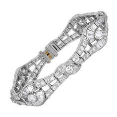 Oscar Heyman Art Deco platinum diamond bracelet with baguette and round brilliant cut diamonds.