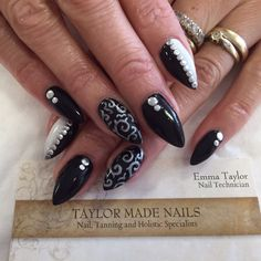 CND Brisa Lite Sculpting Gel with hand painted art and studs by Emma