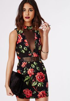 Fernis Floral High Neck Bodycon Dress - Dresses - Bodycon Dresses - Missguided
