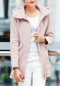 Fuzzy Pink Hooded Coat//