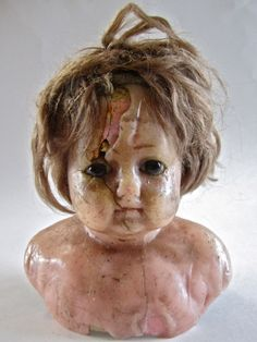 1890's Wax over Composition Doll Head.  SOLD