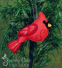 Cardinal Sewing Pattern - Ornament Red Bird Felt Plushie Pattern & Tutorial