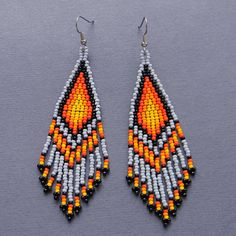 Grey Orange Yellow and Black Native American Style by Anabel27shop,