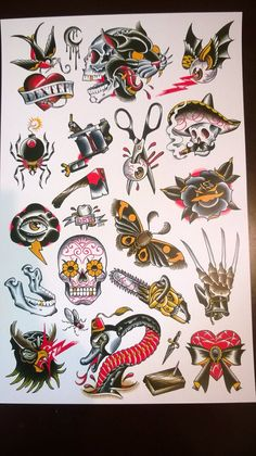 Fundraiser tattoo flash sheet by DerekBWard on Etsy