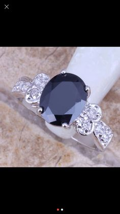 Onyx Cubic Zirconia Ring Sterling Silver Ring by GCRDesigns