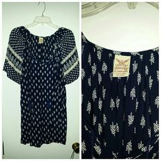 3  beautiful boho printed tops Navy blue and white Black and white Red and white Very cute,relaxed fit but nonstretch Great used condition wore each only a couple times Can be bundled or sold seperatly Tops Blouses