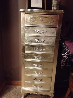 Sears furniture  I had the triple dresser and nightstand pictured     I silver leafed this Sears Bonnet lingerie chest  And I love it