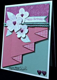 Create with Alyson: Happy Birthday Pleat Fold - Card Paper: Penelope Paper Pack, White Daisy CS, Glacier CS, Whimsy Fundamental CS Pack (Pixie) Stamps: Holiday Tags, Springtime Wishes Inks: Thistle, Pixie, Glacier