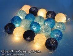 20 Navy Blue Cotton Ball String Party Fairy Decor Bedroom Wedding Garland Lights   eBay