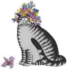 Flower Cat by B. Kliban