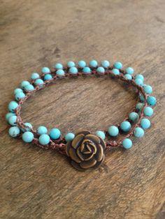 "Turquoise Crochet Multi Wrap Bracelet ""Boho Chic"". $ 20.00, via Etsy."