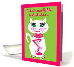 Congratulations Becoming Parents Cheers Kitty Kat with Cocktail card
