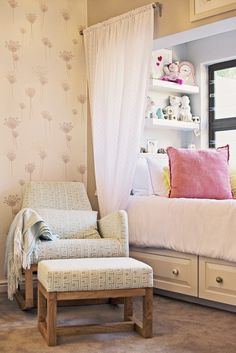 We love this built-in bed in a nursery - great place for mom to crash on a rough night!