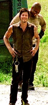 """The Walking Dead - Daryl Dixon Looking for Glenn, who is in the watchtower w/ Maggie. ;) ;) He yells to him: """"You Cummin' ?!"""""""