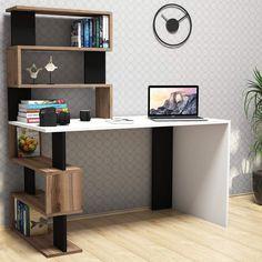 Computer Stand For Desk, Computer Desks For Home, Home Desk, White Bookshelves, Bookshelf Desk, Bookcase Door, Bureau Design, Adjustable Height Desk, White Desks