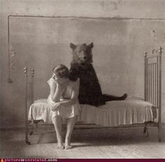 Bear and woman