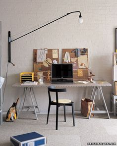 DIY Modern Desk. Hollow core door + Ikea's Vika Artur legs = An amazing looking DIY desk for less than $200! @Dorothy Todd Betts - can we try to make this pretty please!!!