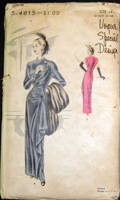 Vintage Original Vogue Special Design 40's Evening Dress Pattern No. S-4815