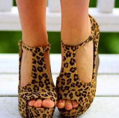 ihomecoming.com SUPPLIES Sexy Leopard Print Wedge Sandals Wedge Heel