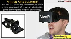 VIZOR VR GLASSES  The Vizor VR #Glasses help you immerse yourself in a virtual world, watch #3D #movies and play intuitive games all through this one piece of technology.