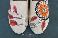 Native American Dream Catcher Custom Painted TOMS Shoes - Colorful Dreamcatcher - Personalized Shoes - Native American Art