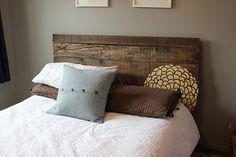 pallet headboard, white comforter!