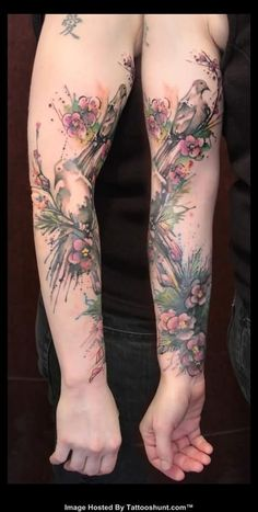 Abstract Color Ink Flowers And Bird Tattoo On Right Sleeve