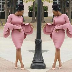 Pure Color Long Trumpet Sleeves Scoop Knee-length Dress Shared by SPCN. African Attire, African Wear, African Dress, Ankara Dress, Blush Cocktail Dress, Cocktail Dresses, Tulip Sleeve, Petal Sleeve, Look Fashion