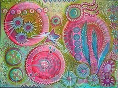 Art Work by Sam Scott - she did this piece of art by following Tracy Bautista's online free workshop called Doodles Unleashed at Strathmore Artist Studio.
